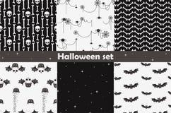 Halloween set of seamless patterns. Vector illustration Stock Images
