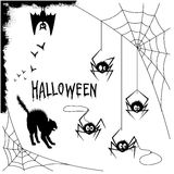 Halloween set. Set of halloween silhouette on white background Royalty Free Stock Images