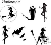 halloween set silhouettes Royaltyfri Bild