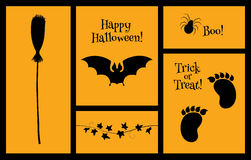 Halloween set of silhouettes bat. Set of vector Halloween illustrations and titles. Black silhouettes on an orange background. Horizontal format Stock Photo