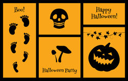 Halloween set of silhouettes skull Stock Images