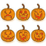 Halloween set of six pumpkins Stock Photography