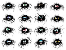 Halloween set of sixteen spider characters Stock Photo