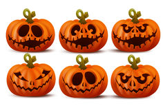 Halloween set with smiley pumpkins faces Stock Photography