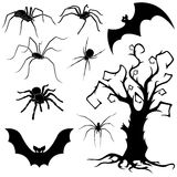 Halloween set of spiders, bats and dried tree Royalty Free Stock Photo