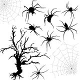 Halloween set of spiders, nettings and dried tree. Halloween silhouette set of spiders, spider nettings and old dried tree isolated on white background, hand Royalty Free Stock Photo