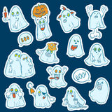 Halloween set of stickers  ghosts Stock Photo