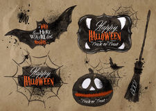 Halloween set symbols lettering kraft. Halloween set, drawn halloween symbols pumpkin, broom, lettering and stylized drawing in kraft paper Stock Photo