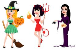 Halloween. Set of three girls for holiday, witches and devil gir Royalty Free Stock Image