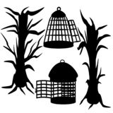 Halloween set of trees and cages. Set for Halloween. Vector illustration of a set for Halloween from dried tree and bird cages. Images is isolated on a white royalty free illustration