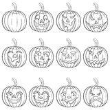 Halloween set of twelve pumpkin outlines Royalty Free Stock Image