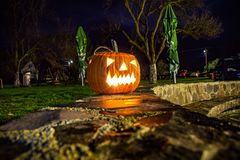 Halloween set up pumpkin by night royalty free stock image