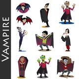 Halloween set with vampire and their castle under full moon and cemetery, Draculas monster in coffin flat vector Stock Photos
