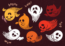 Halloween set with various spooky ghosts. Collection of cute spooky ghosts on brown background. Halloween set with ghosts child drawing style. Ghosts with Stock Photo