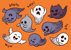 Halloween set with various spooky ghosts. Collection of cute spooky ghosts on orange background. Halloween set with ghosts child drawing style. Ghosts with Royalty Free Stock Photo