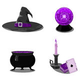 Halloween set with witch accessories. In black and purple colors. For convenience, each accessory is on a separate layer Stock Photography