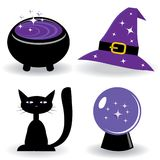 Halloween set with witch's stuff Royalty Free Stock Photo