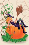 Halloween sexual witch and pumpkin. Vector illustration Stock Images
