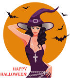 Halloween Sexy witch. Vector illustration Royalty Free Stock Photos