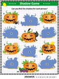 Halloween shadow game with pumpkins royalty free illustration