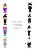 Halloween shadow matching game for kids. Halloween themed logic shadow matching game for kids, Choose correct dress shadow for children dressed in costumes of Stock Photos
