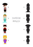 Halloween shadow matching game for kids. Halloween themed logic shadow matching game for kids, Choose correct dress shadow for children dressed in costumes of Royalty Free Stock Images