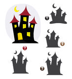Halloween shape game: the haunted house. Halloween game for children: Find the exact shape of the haunted house Stock Image