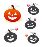 Halloween shape game: the pumpkin. Halloween game for kids: Find the exact shape of the pumpkin Royalty Free Stock Images