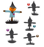 Halloween shape game: the scarecrow. Halloween game for kids: Find the exact shape of the scarecrow Royalty Free Stock Images