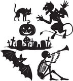Halloween shapes. Black and white  cartoon shapes on Halloween theme Royalty Free Stock Image