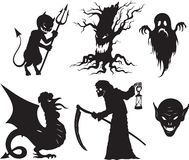 Halloween shapes. Black and white  cartoon shapes on Halloween theme Royalty Free Stock Images