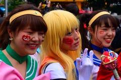 Halloween in Shibuya, Tokyo, Japan. Girls dressed as anime characters during Halloween in Tokyo, Japan Stock Photo