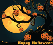 Halloween shinny moon background. Halloween background with shinny night moon and pumpkins on a tree. Vector Stock Image