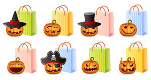 Halloween Shopping. Pumpkins and Shoppingbags; Halloween Shopping Set; Halloween Theme; Vector Illustration Royalty Free Stock Image