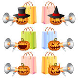 Halloween Shopping. Halloween Pumpkins shouting in megaphone; Pumpkins and Shoppingbags; Halloween Shopping Set; Halloween Theme; Vector Illustration Stock Image