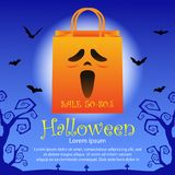 Halloween sale background. Halloween shopping bag and sale text on blue background Stock Image