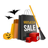 Halloween shopping. Paper bags and pumpkin. Halloween shopping. Paper bags in traditional colors and pumpkin. Boxes with spider and skull. Bat and broom near Stock Photography