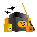 Halloween shopping. Present boxes with pumpkin, spider and skull Royalty Free Stock Image