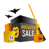 Halloween shopping. Present boxes with pumpkin, spider and skull Royalty Free Stock Photography