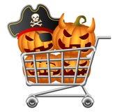 Halloween Shoppingcart. Pumpkins and Shoppingcart; Halloween Shopping Theme; Isolated Vector Illustration Stock Images