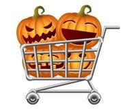 Halloween Shoppingcart. Pumpkins and Shoppingcart; Halloween Shopping Theme;  Vector Illustration Royalty Free Stock Photo