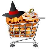Halloween Shoppingcart. Pumpkins and Shoppingcart; Halloween Shopping Theme; Isolated Vector Illustration Royalty Free Stock Photo
