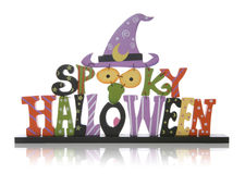 Halloween Sign. A colorful halloween sign over a white background Stock Photo