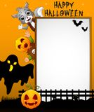 Halloween sign with black ghost and kid pumpkin mask and cat grey while waving hand Royalty Free Stock Photos