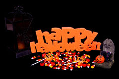 Halloween Sign With Candy stock photos