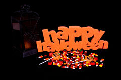 Halloween Sign, Candy and Lantern Royalty Free Stock Photos