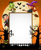 Halloween sign with dracula and frankenstein and witch riding broomstick and scary tree Royalty Free Stock Photo