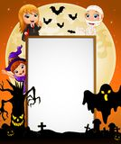 Halloween sign with dracula and mummy and witch and black ghost and scary tree Royalty Free Stock Images