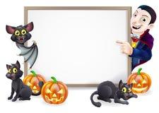 Halloween Sign with Dracula and Vampire Bat Royalty Free Stock Photo