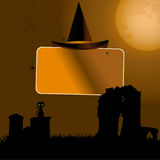 Halloween sign with hat background Stock Photo